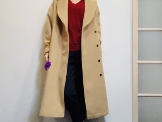 アルパカシャギー 毛並の美しいオーバーサイズのテーラーガウンコート ベージュの画像