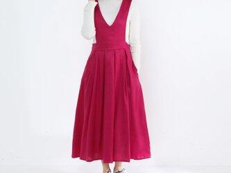 ジャンパースカート・タック・リネン100%・ピンクの画像