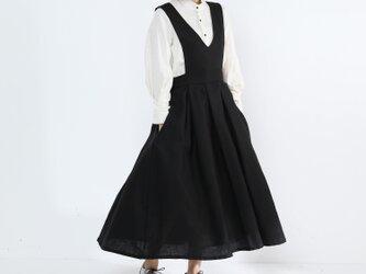 ジャンパースカート・タック・リネン100%・ブラックの画像