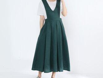 ジャンパースカート・タック・リネン100%・グリーンの画像