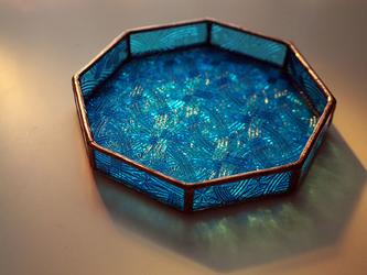 ステンドグラストレイ(小物入れ)ブルーの画像