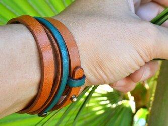 ラップブレスレット キャラメル&ターコイズ  レザー 3連 Triple braceletの画像