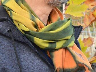 手染めストール オレンジ/グリーンの画像