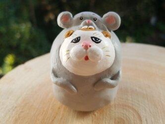 ネズミの着ぐるみを着た猫の画像