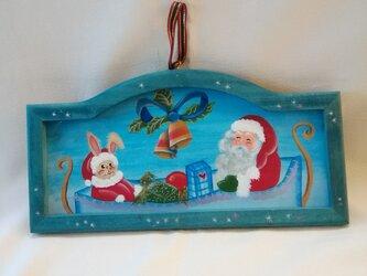 うさぎサンタのクリスマスフレーム プレゼントに最適 オリジナル作品の画像