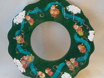 クリスマスリース 両面楽しめるコラージュ&ペインティングオリジナル作品の画像