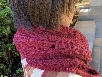 手編みロングスヌード 赤の画像