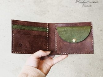 haaki Leather 二つ折り財布 チョコ×グリーンの画像