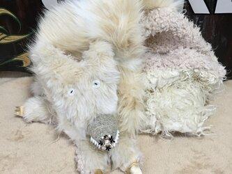 受注生産白オオカミマフラーの画像