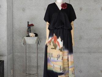 黒留サルエルパンツのセットアップ/フリーサイズ/着物リメイクの画像