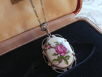 ヴィンテージ Purple薔薇/陶器 アンティークSilverネックレスの画像