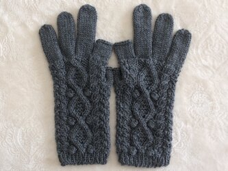 【受注制作】スマホ対応手袋メリノウール100%グレーの画像