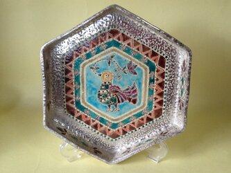 銀彩鳥文六角鉢の画像