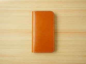 牛革 iPhone 11 カバー  ヌメ革  レザーケース  手帳型  キャメルカラーの画像