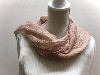 草木染め 手織りシルクストール桜 ST03の画像