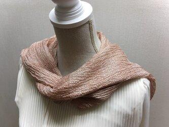 草木染め 手織りシルクストール桜 横段柄 ST06の画像