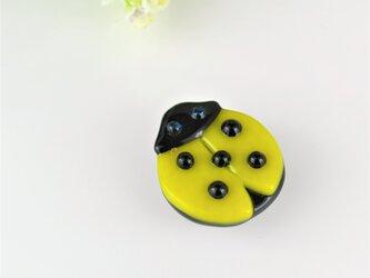 黄色いてんとう虫(天道虫)帯留めの画像