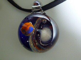 宇宙ガラス、惑星NO.3(ガラス、惑星、ペンダント、星雲、地球)の画像