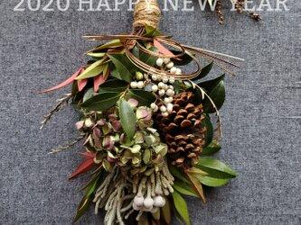 [一点もの]アンティーク紫陽花と実モノのお正月飾り(スワッグ)の画像
