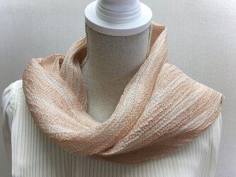 草木染め 手織りシルクストール桜 ST08の画像