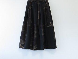 *アンティーク着物*流線模様手織り真綿紬のパッチスカートスヌードセット(裏地つき)の画像