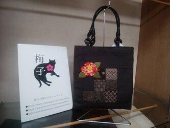 椿の押し絵の手提げバッグ◆斑入り椿◆送料無料の画像