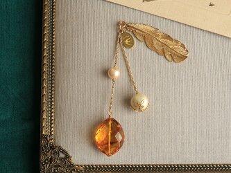 琥珀とパールの帯飾り《A》【送料無料】の画像