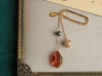 琥珀とパールの帯飾り《B》【送料無料】の画像