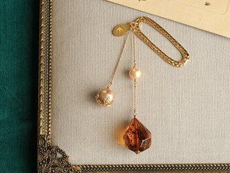 琥珀とパールの帯飾り《C》【送料無料】の画像