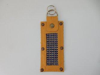 裂き織のキーホルダー(ブルー)の画像