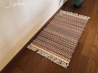 手織りローゼンゴンフロアマット オレンジ パープルの画像