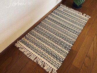 手織りローゼンゴンフロアマット フォレストグリーンの画像