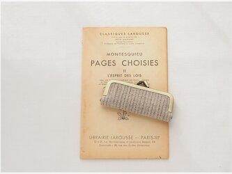 ■手紡ぎ、手織りシルク・リネンのがま口印鑑ケース / ■ hanko case (gmi-ac)の画像