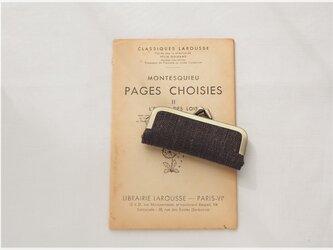 ■手紡ぎ、手織りシルク・リネンのがま口印鑑ケース / ■ hanko case (gmi-ag)の画像