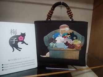 12匹の猫ちゃんバッグ◆押し絵◆送料無料の画像