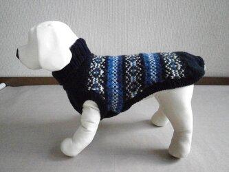 犬服 R様オーダーメイド品:洗濯機OKのセーター(濃紺&グレー&白&青)の画像