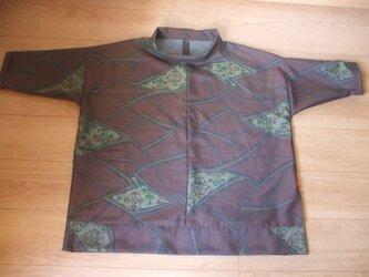 アンティーク大島紬から左スリットチュニック 絹の画像