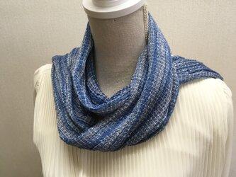 草木染め 手織りシルクストール藍 ST10の画像