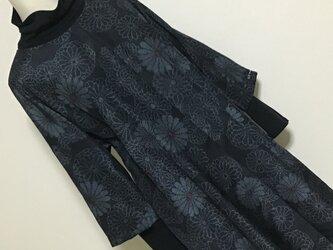 1216    着物リメイク 2L~3L寸法の七分袖コクーンワンピース  十日町紬の画像