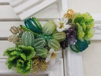 バレッタ Bouquet  (グリーンローズ)の画像
