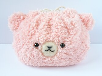 モフモフくまちゃんの巾着(ピンク)の画像