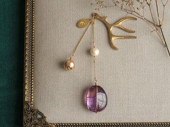 天然石とパールの帯飾り《アメトリン/B》【送料無料】の画像