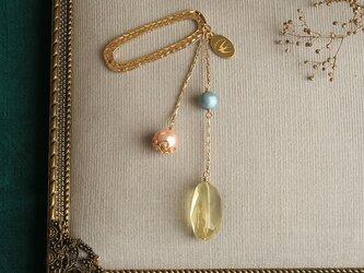 天然石とパールの帯飾り《レモンクォーツ/C》【送料無料】の画像