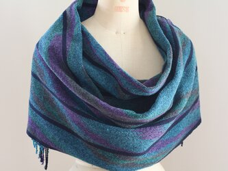 手織り 段染めウールの広巾ショールの画像