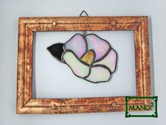 ステンドガラスの白い椿の画像