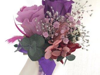 【ブートニア/コサージュ プリザーブドフラワー紫の薔薇】の画像