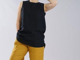 【wafu】薄地 雅亜麻 リネン インナー ペチタンク 2wey ノースリーブ 裾ヘムライン/黒色【M-L】p011b-bck1の画像