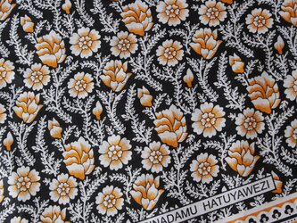 アフリカ布『カンガ』ブラック 蔦花の画像