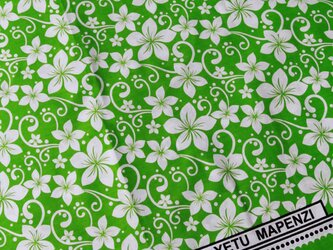 アフリカ布『カンガ』グリーン ボタニカル柄の画像