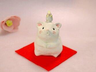 2020年の干支 子(ネズミ)の陶器の置物「ねずみとオカメインコ」の画像